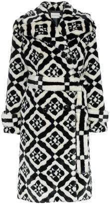 Mary Katrantzou Stokes faux fur tile print coat