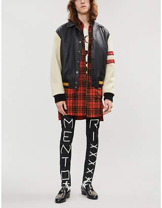 Gucci Logo-print leather bomber jacket