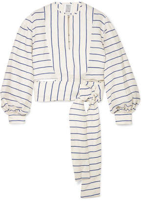 Rosie Assoulin Striped Linen Wrap Top - White