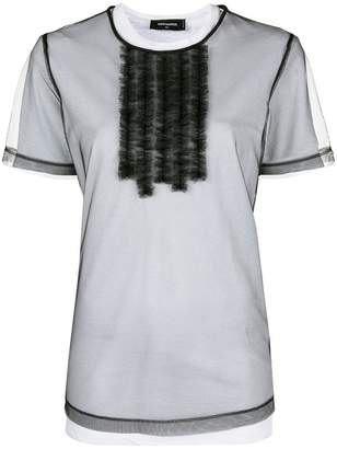 DSQUARED2 frill sheer layered T-shirt