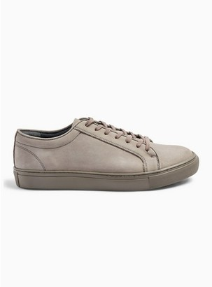 Topman Mens Grey Gray 'Lambeth' Leather Trainers