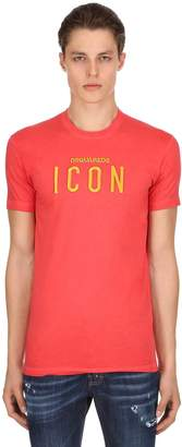 DSQUARED2 Icon Embroidered Cotton Jersey T-shirt