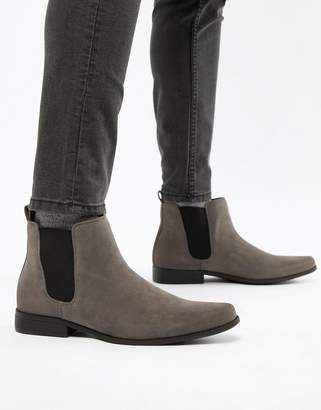 Asos DESIGN chelsea boots in gray faux suede