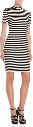 Bebe Striped Embellished Logo Knit Dress