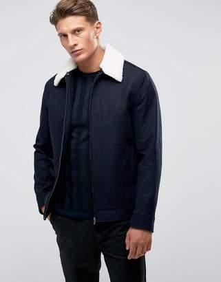 French Connection Wool Harringon with Fleece Collar