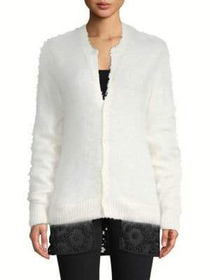 Noir Kei Ninomiya Floral Lace Button-Front Sweater