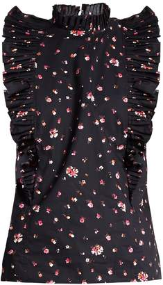 REBECCA TAYLOR Mia floral-print ruffled-collar cotton top $255 thestylecure.com