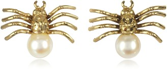 Bernard Delettrez Bronze Spider Earrings with Pearl