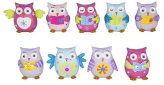 Mini A Ture Malmar Enterprises Complete Set Of 9Pce X Flower Power Owls - 6Cm. Miniature With Goggly Eyes