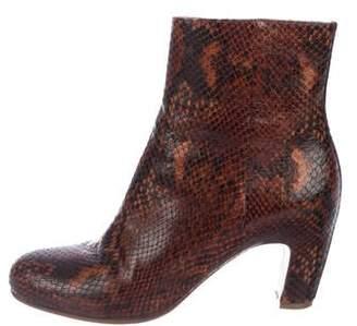 Maison Margiela Snakeskin Round-toe Ankle Boots
