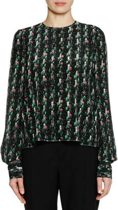 Marni Long-Sleeve Crewneck Abstract-Print Silk Woven Blouse