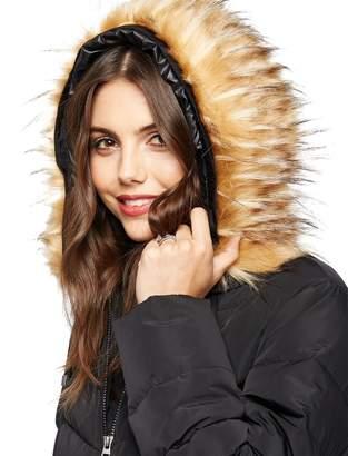 A Pea in the Pod Faux Fur Hood Maternity Puffer Coat