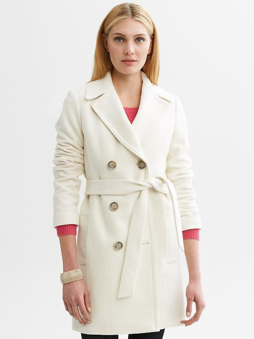 White wool-blend belted coat