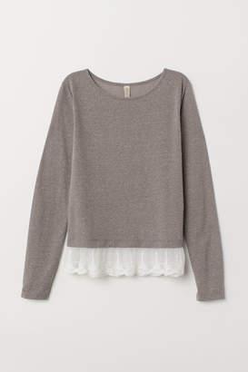 H&M Lace-hem Top - Gray