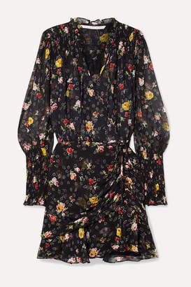 Veronica Beard Armeria Wrap-effect Floral-print Silk-georgette Mini Dress - Black