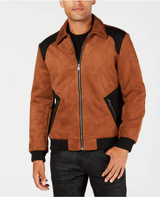 INC International Concepts I.n.c. Men's Classic Fit Suede Colorblocked Jacket, Created for Macy's