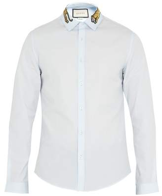 Gucci Duke Tiger Applique Point Collar Cotton Shirt - Mens - Light Blue