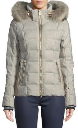 Bogner Uma Down-Filled Coat w/ Removable Hood & Fur Trim