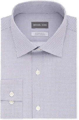 Michael Kors Men's Classic/Regular Fit Non-Iron Airsoft Stretch Performance Blue Print Dress Shirt