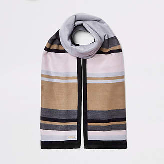 River Island Womens Grey and beige blocked blanket scarf