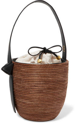 Cesta Collective - Lunchpail Leather-trimmed Woven Sisal Bucket Bag - Light brown