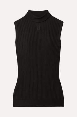 Givenchy Embroidered Ribbed-knit Turtleneck Top - Black