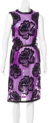 Christopher Kane Leather-Trimmed Mesh Dress