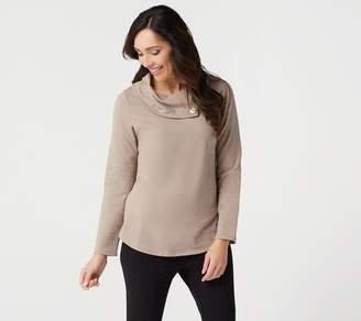 Denim & Co. Active French Terry Hi-Low Hem Top w Button Collar