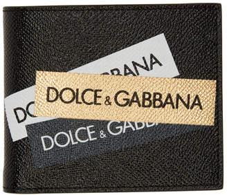 Dolce & Gabbana (ドルチェ & ガッバーナ) - Dolce And Gabbana Dolce and Gabbana ブラック and ゴールド ロゴ テープ バイフォールド ウォレット