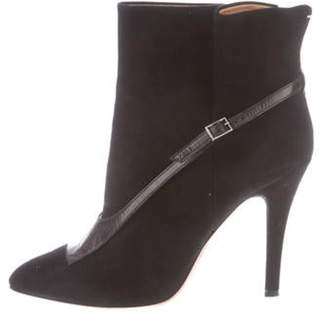 Maison Margiela Suede Pointed-Toe Ankle Boots Black Suede Pointed-Toe Ankle Boots