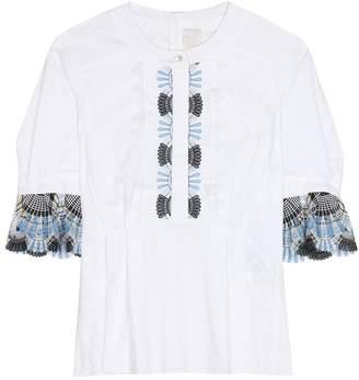 Peter Pilotto Cotton-blend blouse with lace