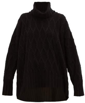 eskandar Roll Neck Cable Knit Cashmere Sweater - Womens - Black