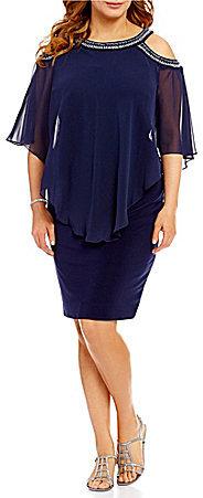 Alex EveningsAlex Evenings Plus Cold-Shoulder Popover Dress