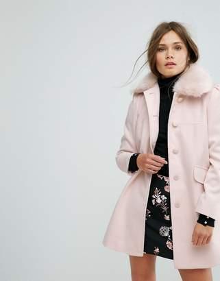 Miss Selfridge Faux Fur Collar Pea Coat
