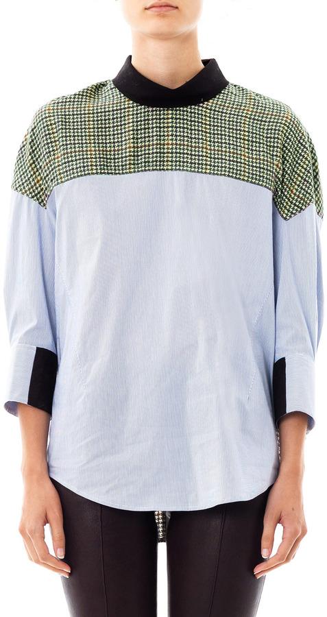 3.1 Phillip Lim Stripe and tweed-print shirt
