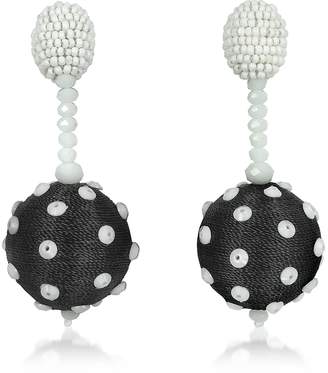Oscar de la Renta Polka Dot Sequin Single Ball Clip-On Earrings