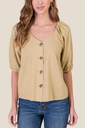 francesca's Ava Button Front Top - Mustard