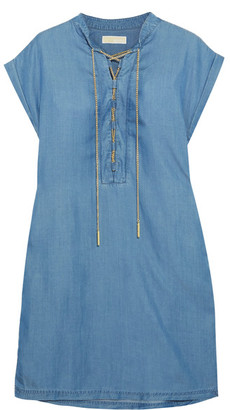 MICHAEL Michael Kors - Lace-up Chambray Mini Dress - Blue $155 thestylecure.com