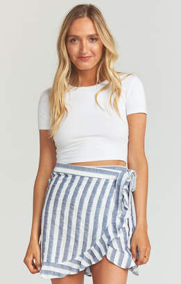Show Me Your Mumu Roam Ruffle Skirt ~ Dock Stripe Navy