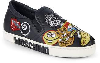 Moschino Women's Patched Slip-On Sneakers