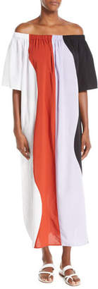 Mara Hoffman Sala Off-the-Shoulder Wavy-Stripe Swim Coverup Maxi Dress