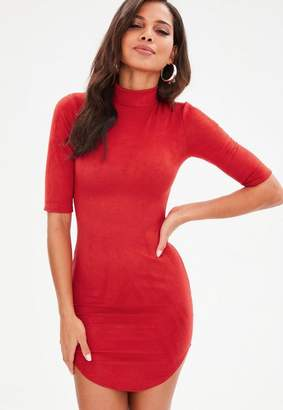 Missguided Red High Neck Faux Suede Mini Dress