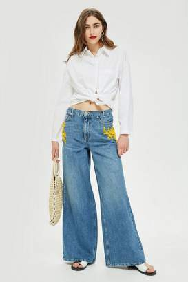 Topshop MOTO Yellow Bead Wide Leg Jeans