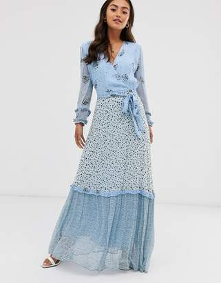 Ghost avery georgette mix and match print floral maxi dress
