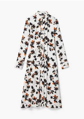 Derek Lam Floating Floral Long Sleeve Maxi Shirt Dress With Pleats