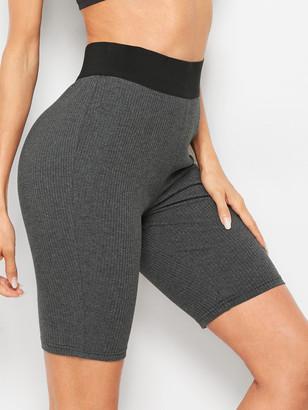 Shein Contrast Waist Rib-knit Skinny Shorts