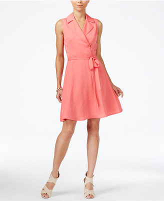 Armani Exchange Sleeveless Notched-Collar Shirtdress $140 thestylecure.com