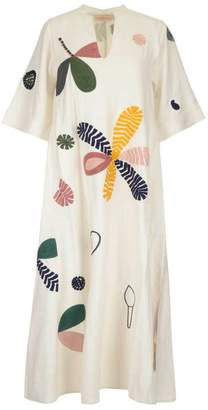 Tory Burch All Over Print Belted Maxi Dress