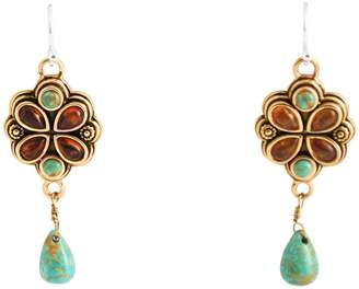 Barse Sterling Silver & Bronze Turquoise & Amber Floral Earrings