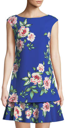 Eliza J Floral Cap-Sleeve Shift Dress